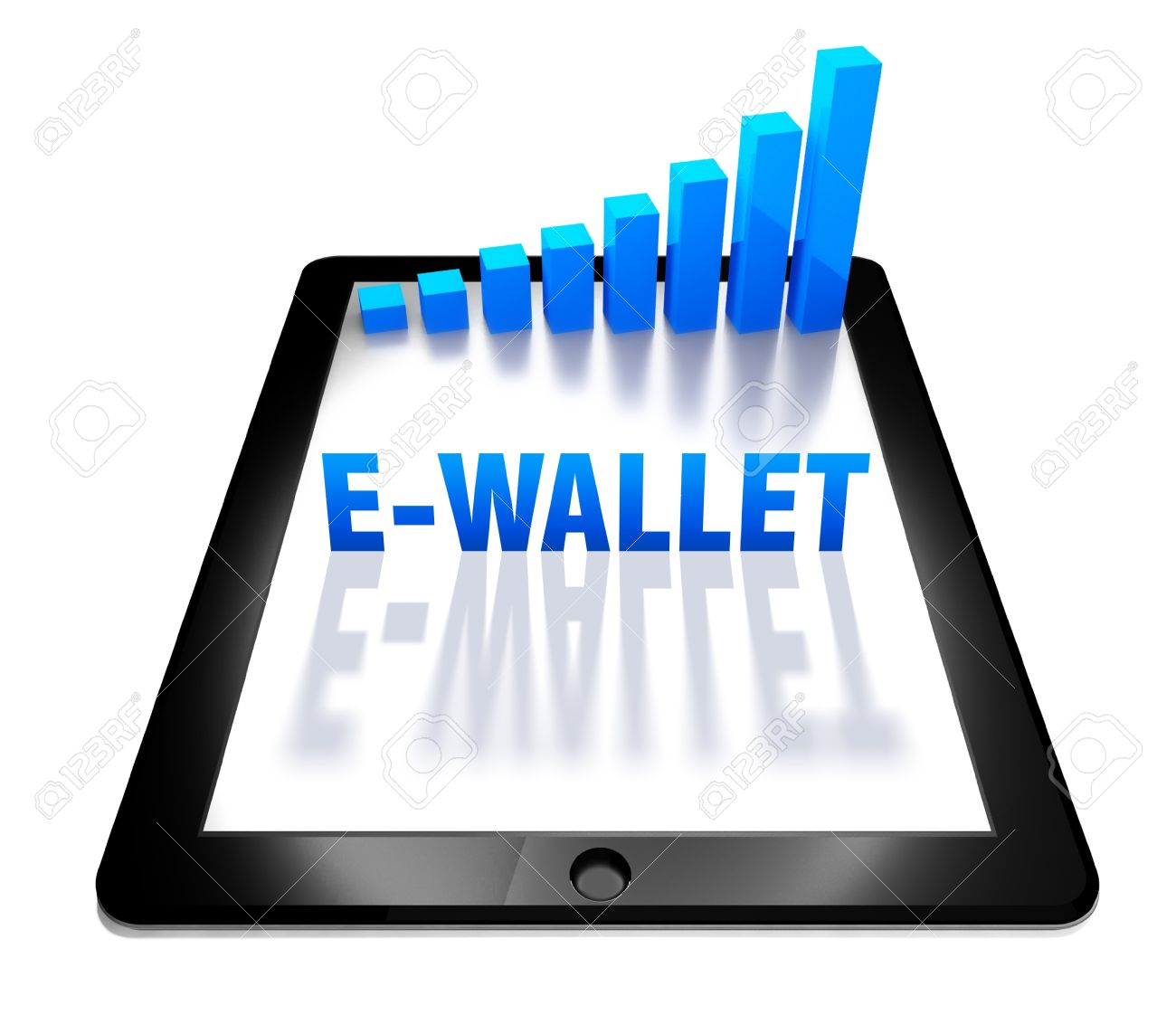 3d graph and e-wallet concept on digital tablet